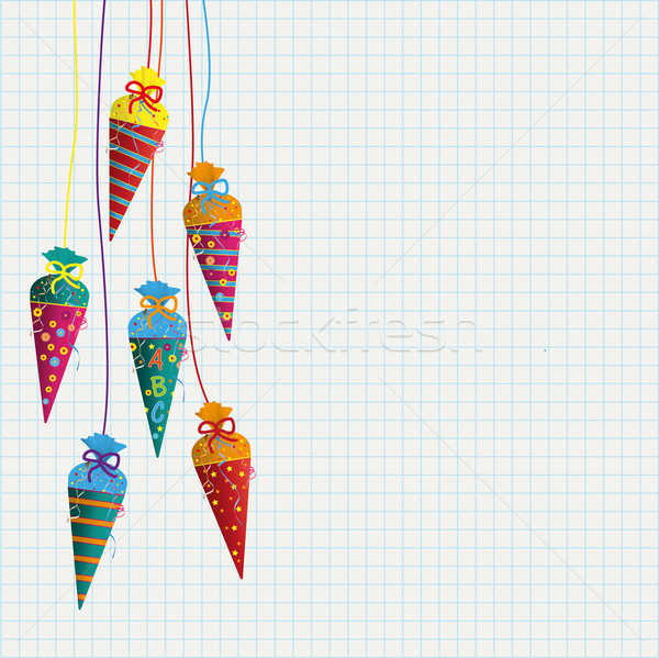 Colored Hanging Candy Cones Checked Paper Stock photo © limbi007