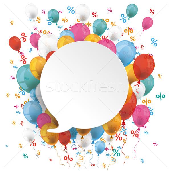 White Round Speech Bubble Balloons Percents Stock photo © limbi007