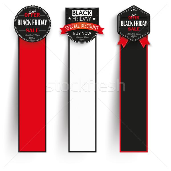 3 Oblong Paper Banners Black Friday Stock photo © limbi007