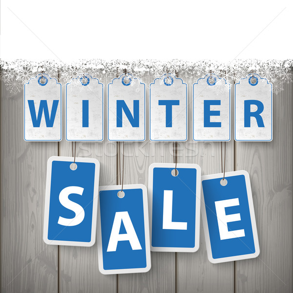 Snow Wood Laths Winter Sale Stock photo © limbi007