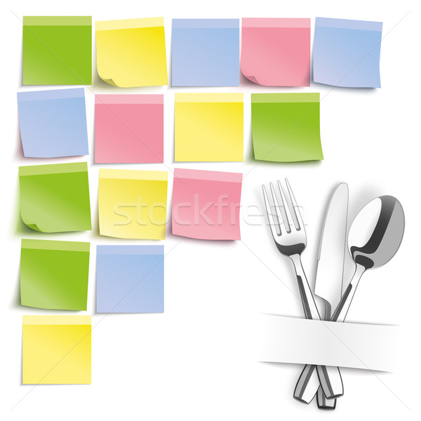 Fork Knife Spoon Colored Sticks Pinboard Stock photo © limbi007