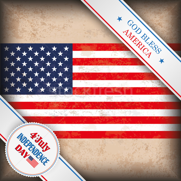 Vintage US Flag 4 July Independence Day Stock photo © limbi007
