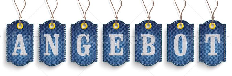 Klassiek bieden jeans prijs stickers tekst Stockfoto © limbi007