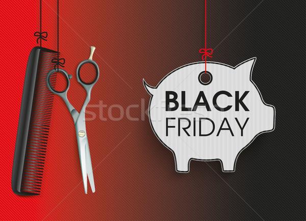 Hanging Scissors Comb Piggy Bank Black Friday Stock photo © limbi007