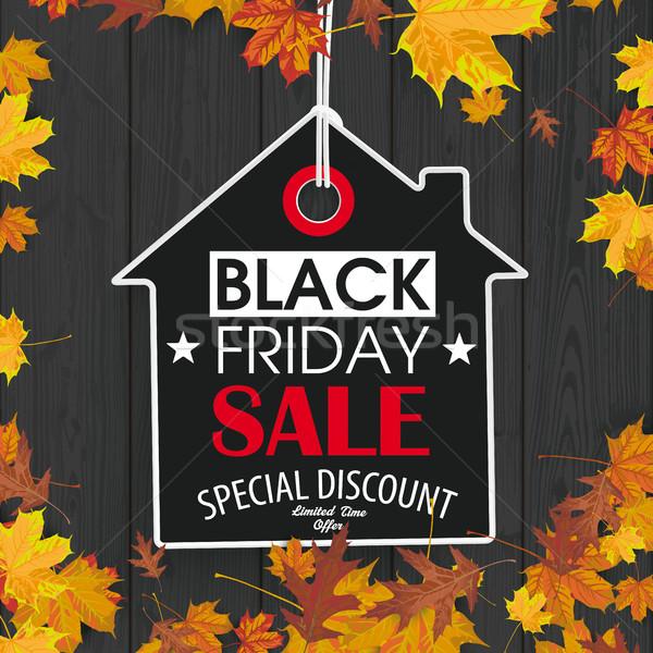 Black Friday Price Sticker House Autumn Foliage Black Wood  Stock photo © limbi007