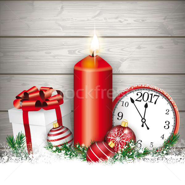 Christmas Candle Clock Gift Baubles Wood Stock photo © limbi007