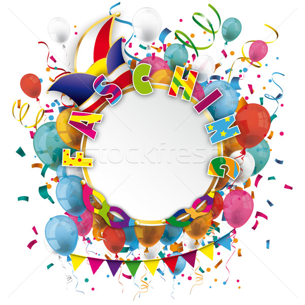 Golden Paper Circle Balloons Confetti Fasching Stock photo © limbi007