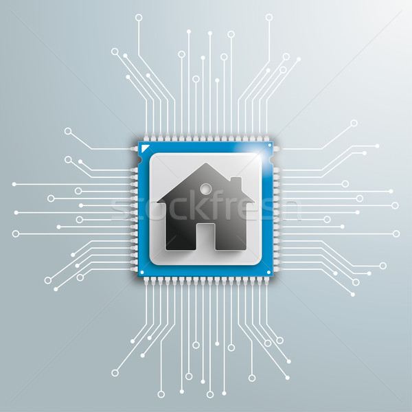 Ev fütüristik işlemci devre kartı elektronik Stok fotoğraf © limbi007
