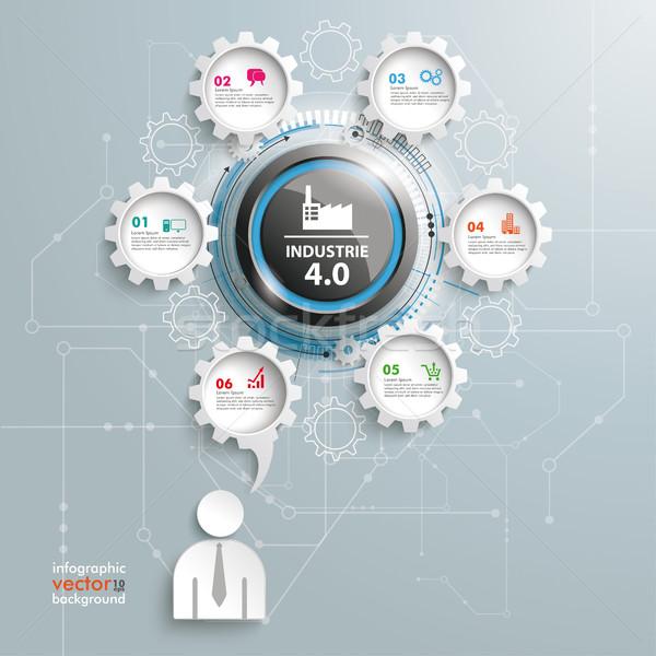 Industrie 4.0 Speech Bubble Gear Machine Businessman Stock photo © limbi007