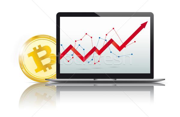 Black Notebook Golden Bitcoin Growing Chart Stock photo © limbi007