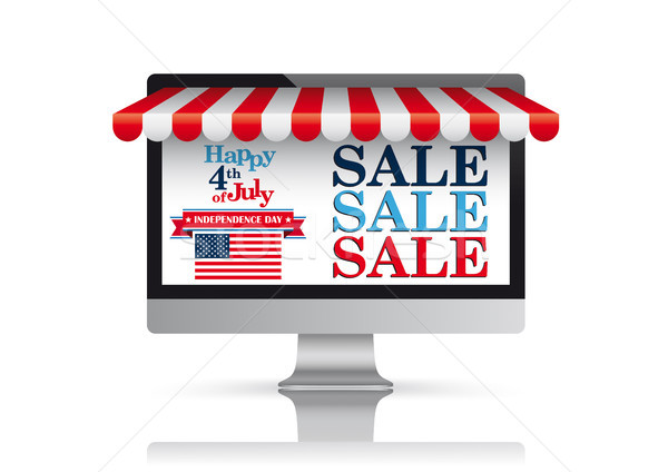 PC Monitor Red Awning Independence Day Sale Stock photo © limbi007