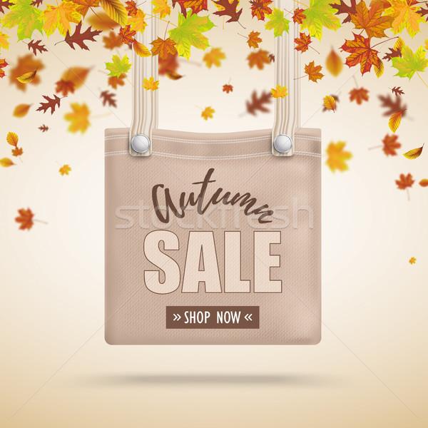 коричневый кошелька сумку осень продажи листва Сток-фото © limbi007