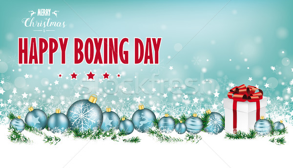 Cyan Christmas Header Snowflakes Baubles Gift Boxing Day Stock photo © limbi007