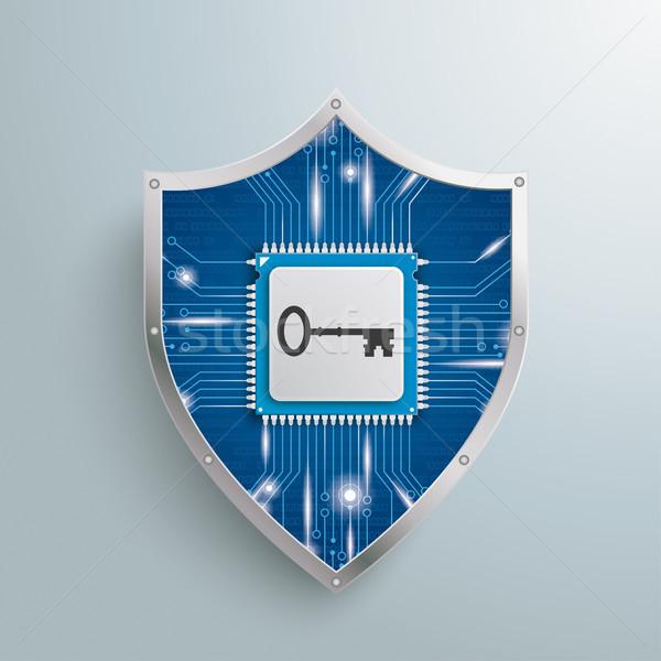 デジタル 保護 シールド マイクロチップ キー グレー ストックフォト © limbi007