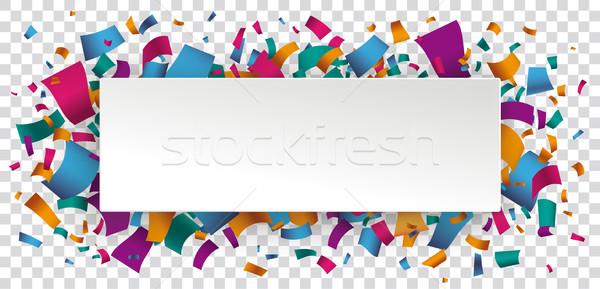 Papier bannière confettis transparent blanche Photo stock © limbi007