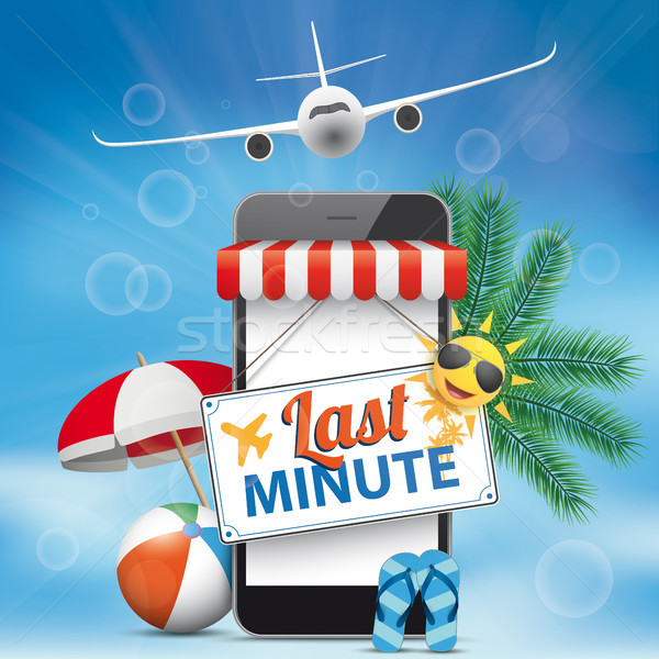Blue Sky Smartphone Last Minute Plane Flip-Flops Sunshade Stock photo © limbi007