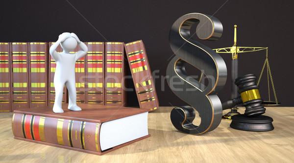 Kétségbeesett bekezdés kalapács egyensúly törvény könyv Stock fotó © limbi007