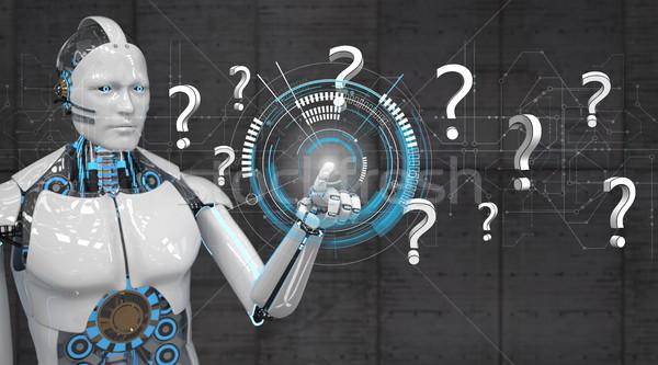 Branco robô clique circuito diagrama perguntas Foto stock © limbi007