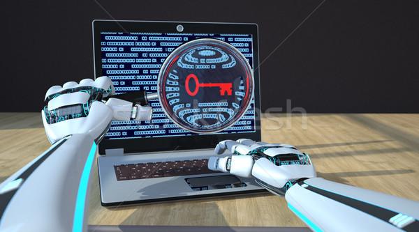 Robot eller defter anahtar ekran Stok fotoğraf © limbi007