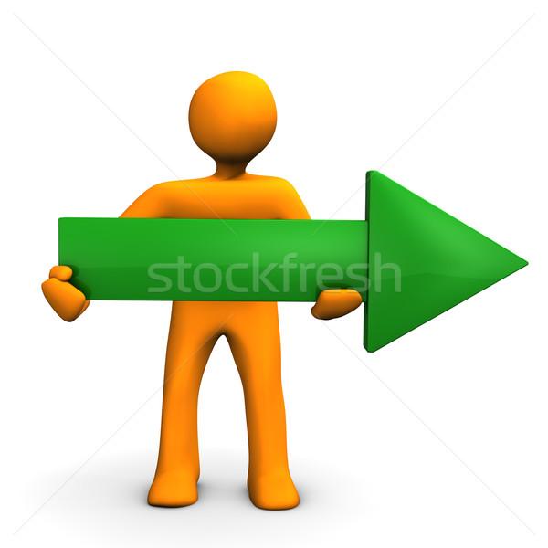 зеленый стрелка направлении оранжевый большой Сток-фото © limbi007