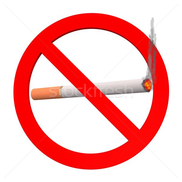 Dohányozni tilos felirat cigaretta fehér füst dohányzás Stock fotó © limbi007