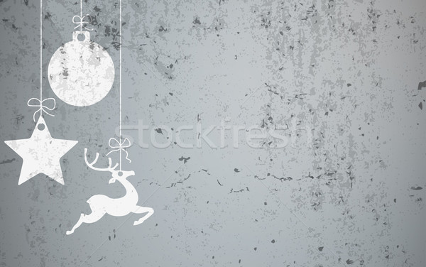 Christmas Card Concrete Star Caribou Bauble Stock photo © limbi007