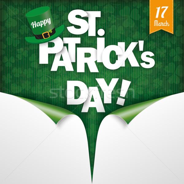 Scrolled 2Corner Vintage Cover Happy St Patrick Stock photo © limbi007