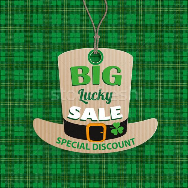 St Patricks Day Hat Price Sticker Tartan Stock photo © limbi007