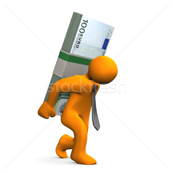 Manikin Euro Notes Burden Stock photo © limbi007
