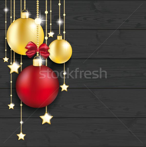 Golden Christmas Baubles Red Ribbon Dark Wood Stock photo © limbi007