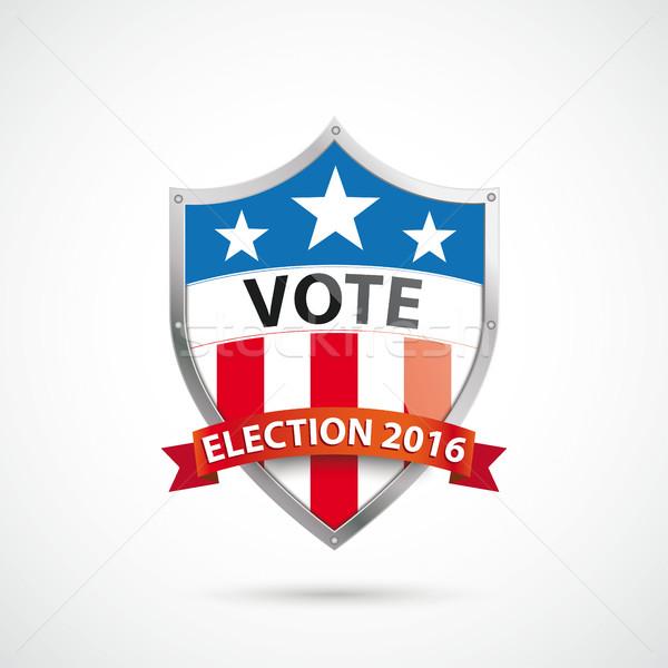 Głosowania wyborów 2016 ochrony tarcza wstążka Zdjęcia stock © limbi007