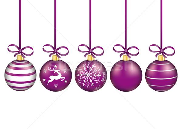 Stock fotó: Lila · karácsony · piros · szalagok · fehér · eps