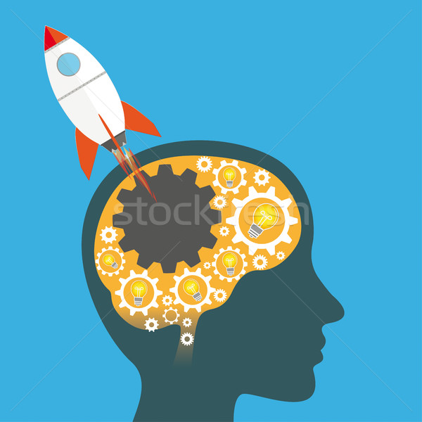 Gear Wheels Human Head Bulb Ideas Rocket Startup Stock photo © limbi007