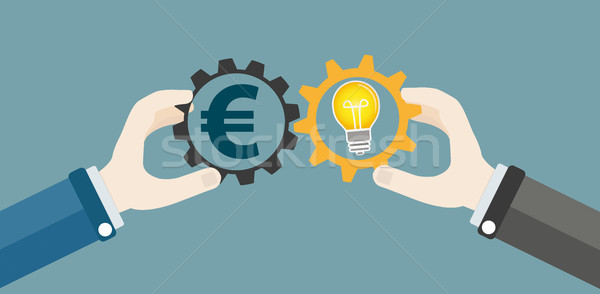 Hands Gears Idea Bulb Euro Investor Concept Stock photo © limbi007