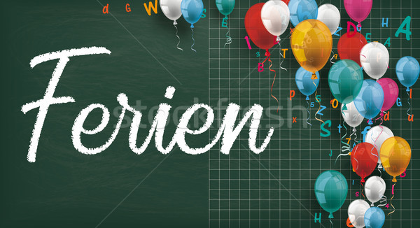 Long Blackboard Colored Balloons Letters Ferien Stock photo © limbi007