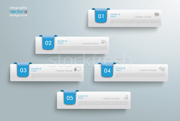 5 Tabs Blue Markers Index Infographic Stock photo © limbi007