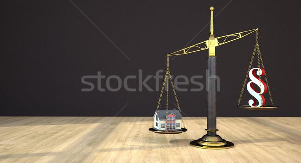 Nyaláb egyensúly ház bekezdés fa asztal épület Stock fotó © limbi007