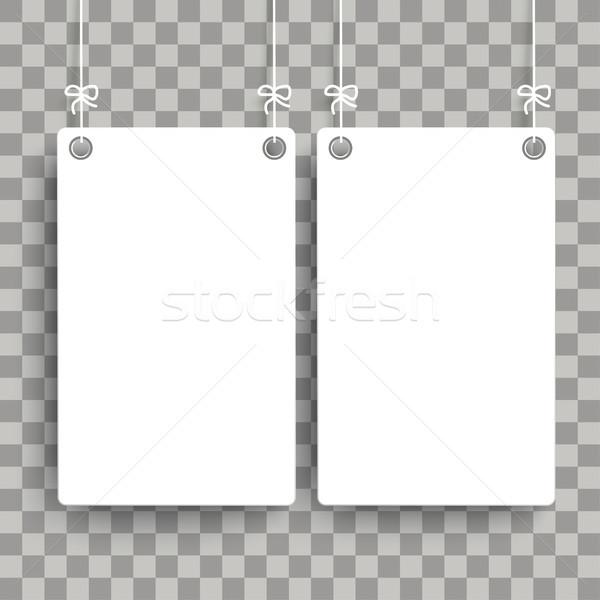 2 White Hanging Boards Transparent Stock photo © limbi007