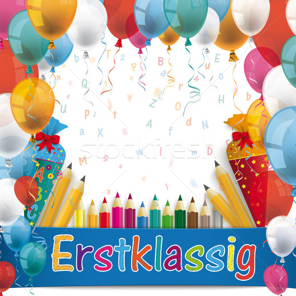 Balloons Erstklassig Candy Cones Pencil Letters Stock photo © limbi007