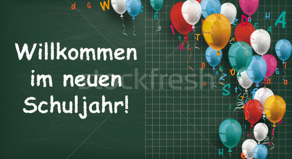 Long Blackboard Balloons Letters Back To School Stock photo © limbi007