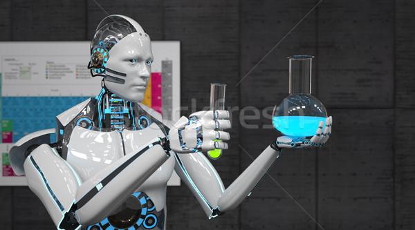 Robot teszt csövek periodikus fehér hát Stock fotó © limbi007