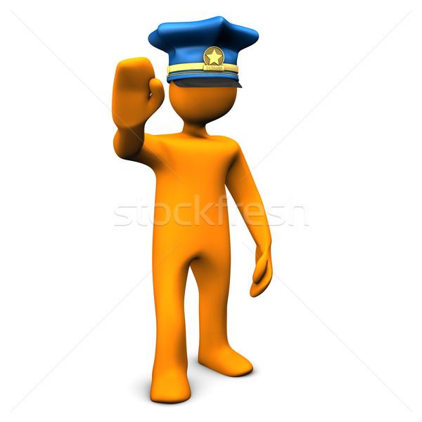 Stop polizia arancione cap simbolo Foto d'archivio © limbi007