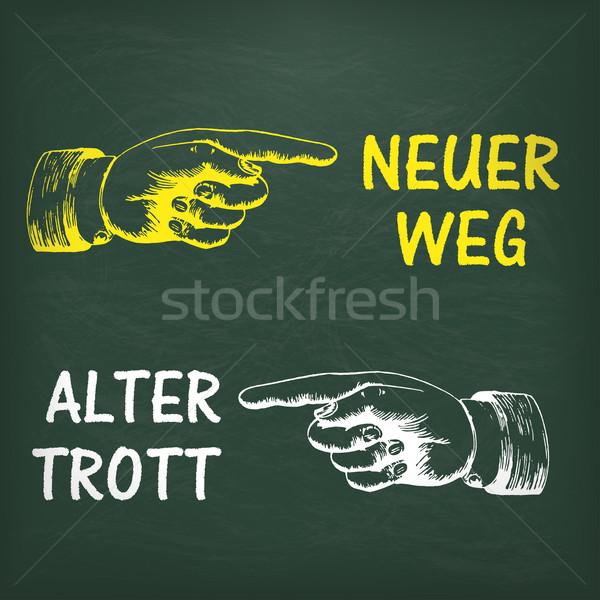 Blackboard Human Hand Neuer Weg Stock photo © limbi007