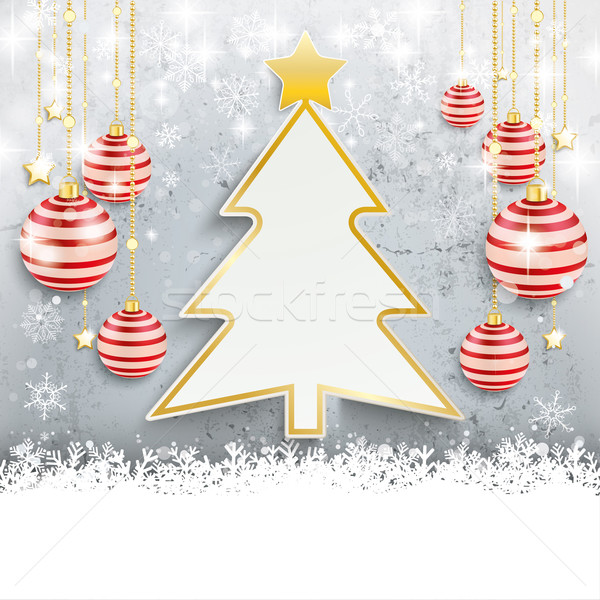 Snowfall Red Baubles Conrete Christmas Tree Stock photo © limbi007