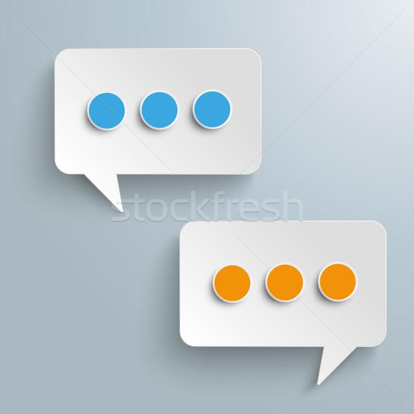 Téglalap szövegbuborékok hírnök kék narancs fehér Stock fotó © limbi007