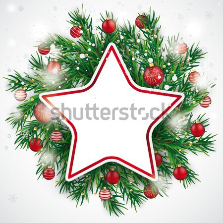 Christmas Gift Star Twigs Baubles Black Wood Stock photo © limbi007