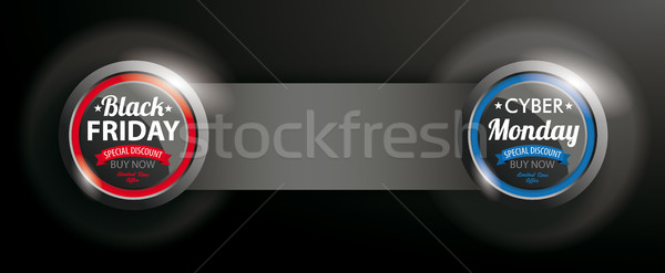 2 Buttons Black Friday Cyber Monday Banner Stock photo © limbi007