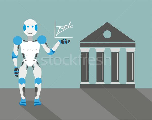 Cartoon Robot Graph Stock Exchange Stock photo © limbi007