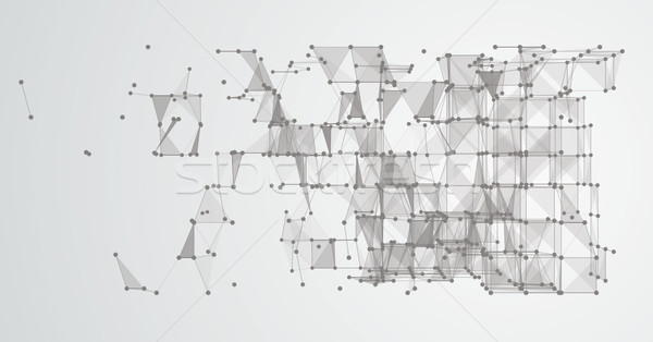Abstract Background Connected Dots Cube LowPoly Stock photo © limbi007