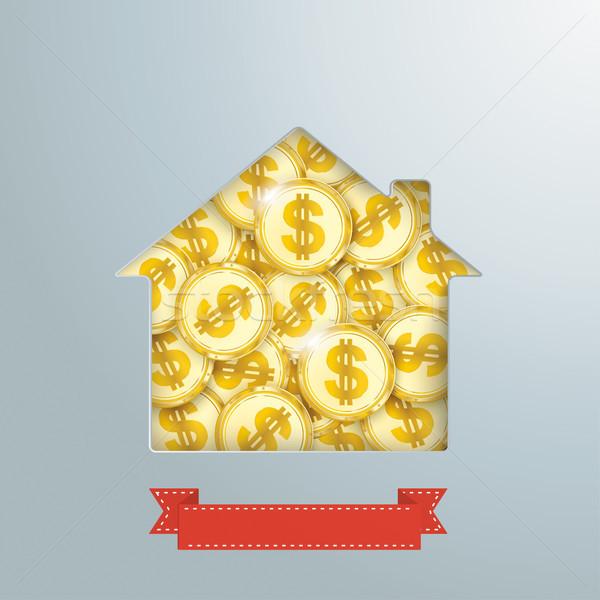 House Hole Golden Dollar Coins Ribbon Stock photo © limbi007